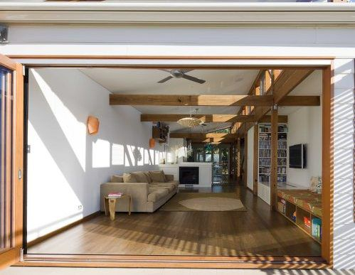Timber bifold doors, natural light and ventilation
